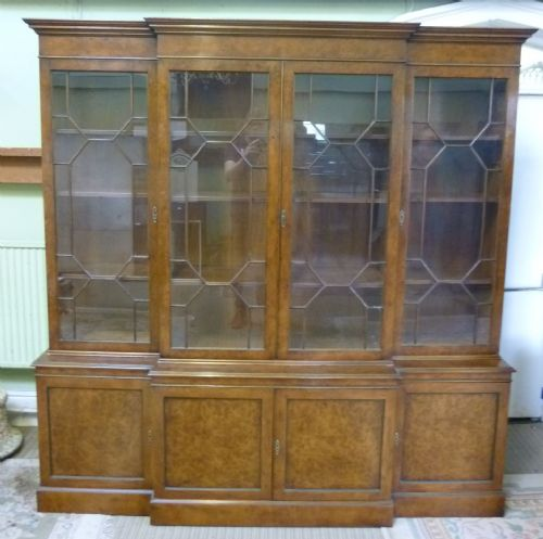 Georgian Style Large Burr Walnut Breakfront Bookcase